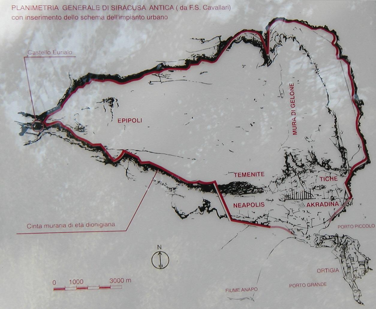 Mappa mura dionigiane - Siracusa